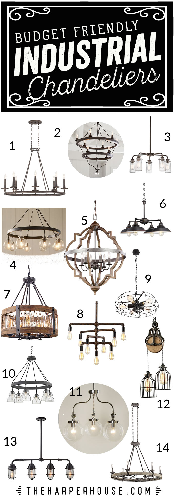 Industrial Chandelier Roundup featuring 15 budget friendly options to bring that industrial chic vibe to your space. #industriallighting