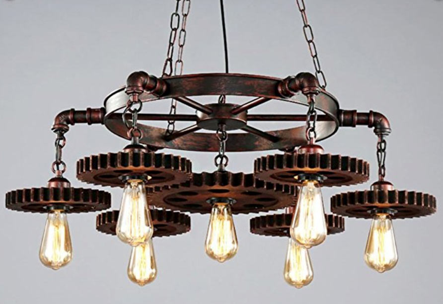 funky unique industrial chandelier from Amazon! #industriallighting