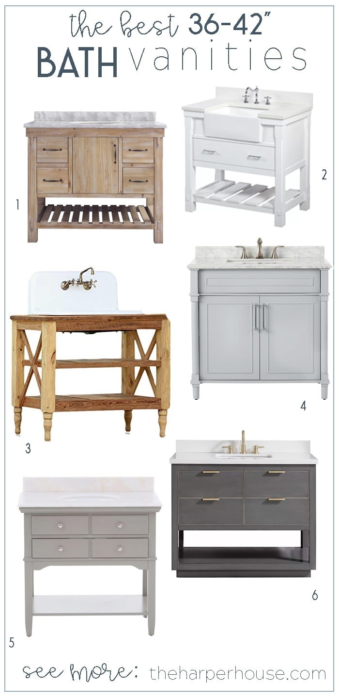 36 inch and 42 inch bathroom vanity roundup: get a custom look for half the price! Bathroom Vanities Single Sink | Bathroom Decorating Ideas | Bathroom Remodeling Ideas | Farmhouse Bathroom | Bathroom Cabinets #bathroomidea #bathroomdesigns #bathroomdecor #bathroomremodel