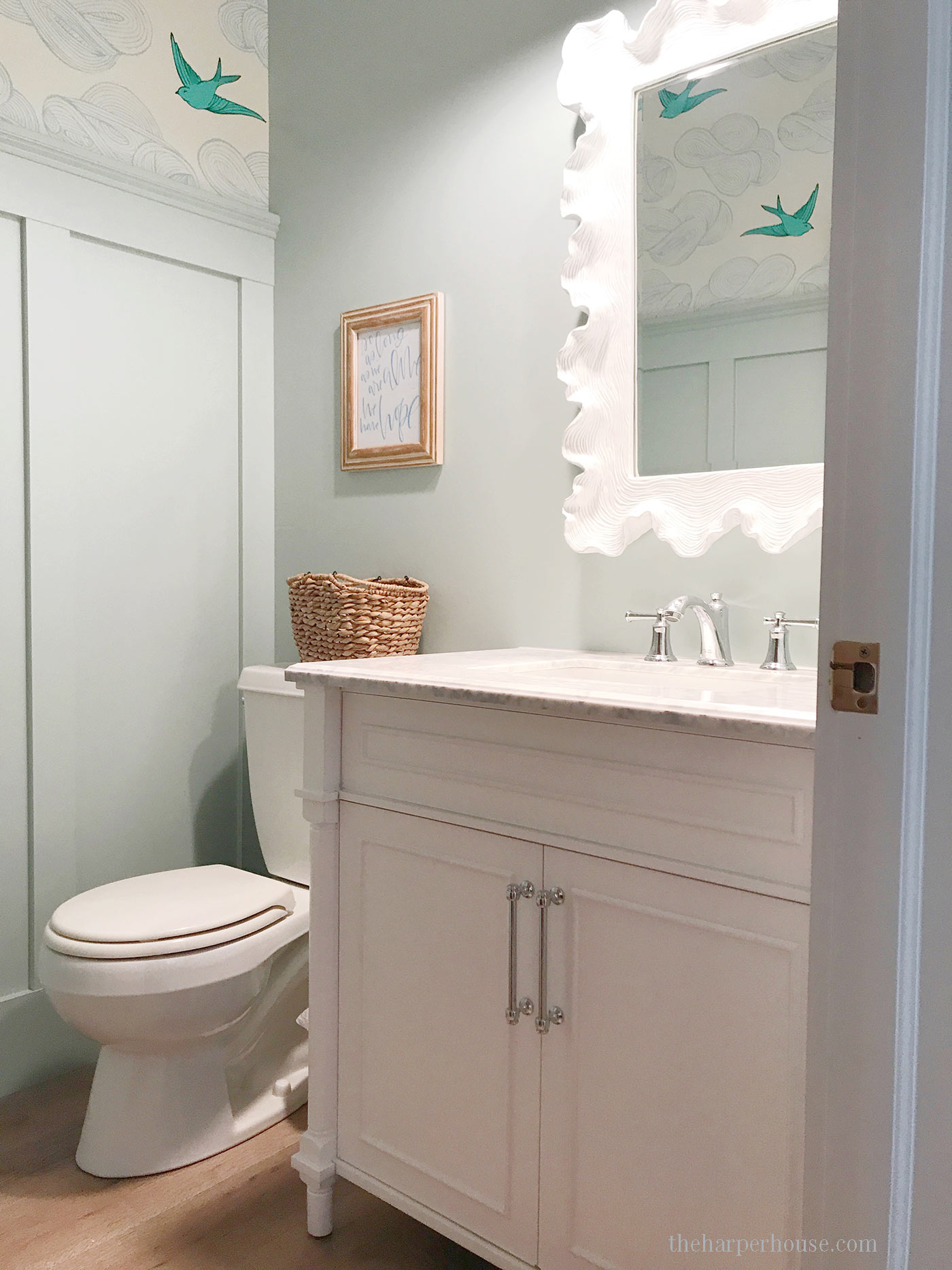 Find out where to buy this bathroom vanity for half the price of custom vanities! Get the look for less and save money with budget friendly bathroom design ideas. Bathroom Vanities Single Sink | Bathroom Decorating Ideas | Bathroom Remodeling Ideas | Farmhouse Bathroom | Bathroom Cabinets #bathroomidea #bathroomdesigns #bathroomdecor #bathroomremodel