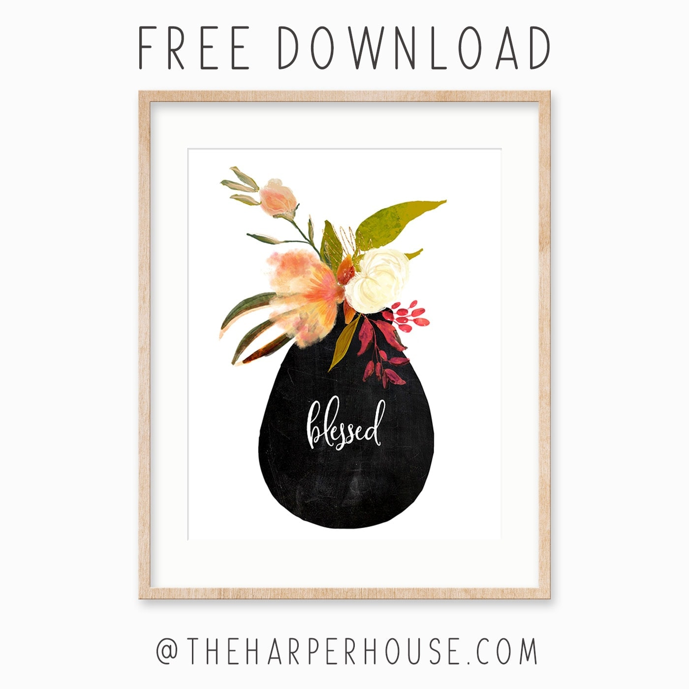 Free Thankful Grateful Blessed floral printables. Perfect for fall decorating and cheap easy wall art! #printable #freeprintable #falldecor