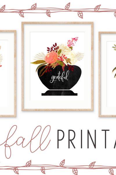 Thankful Grateful Blessed free fall printables #printable #freeprintable #falldecor