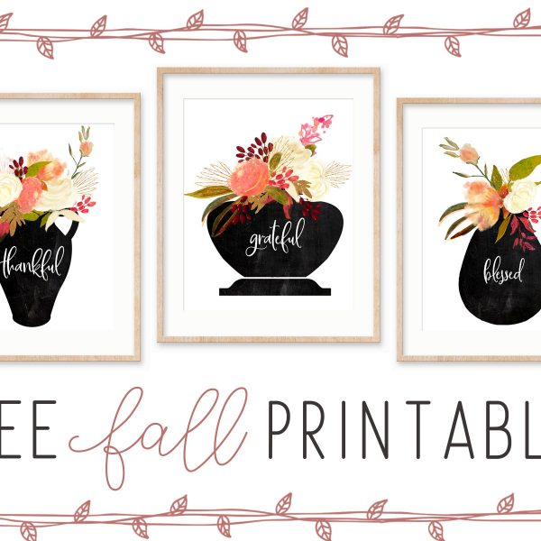 Thankful Grateful Blessed free fall printables #printable #freeprintable #falldecor