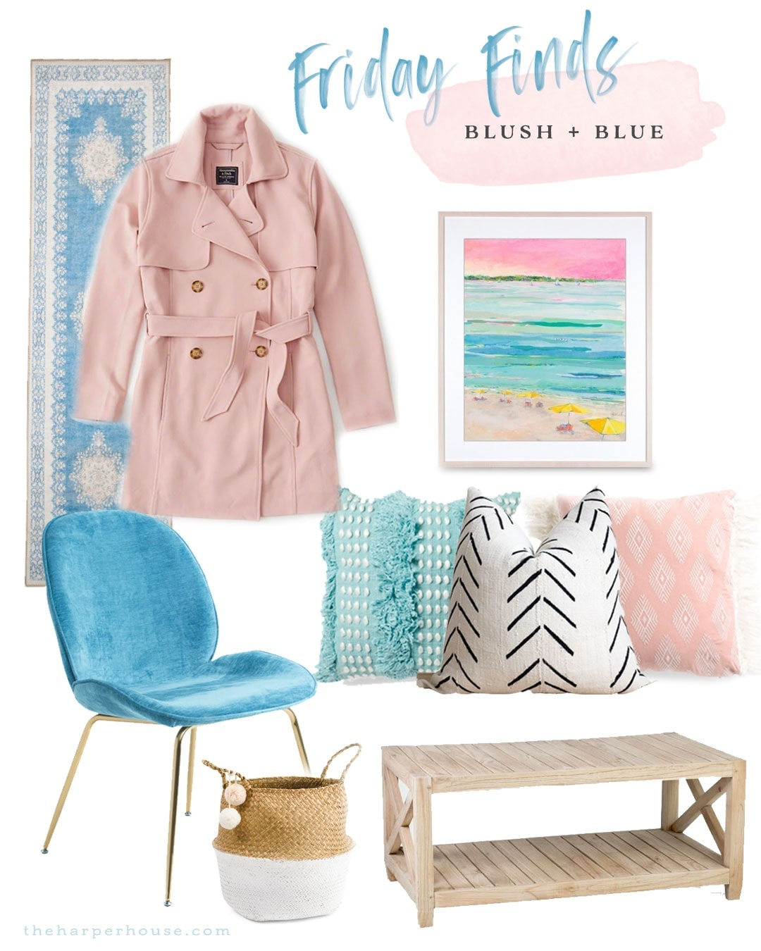 Blush Pink & Blue Home Decor