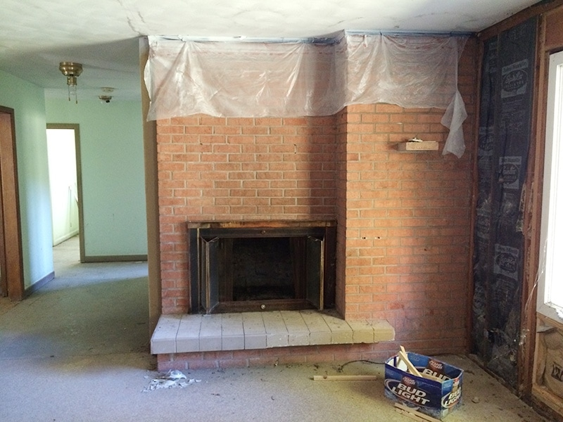 brick fireplace makeover before