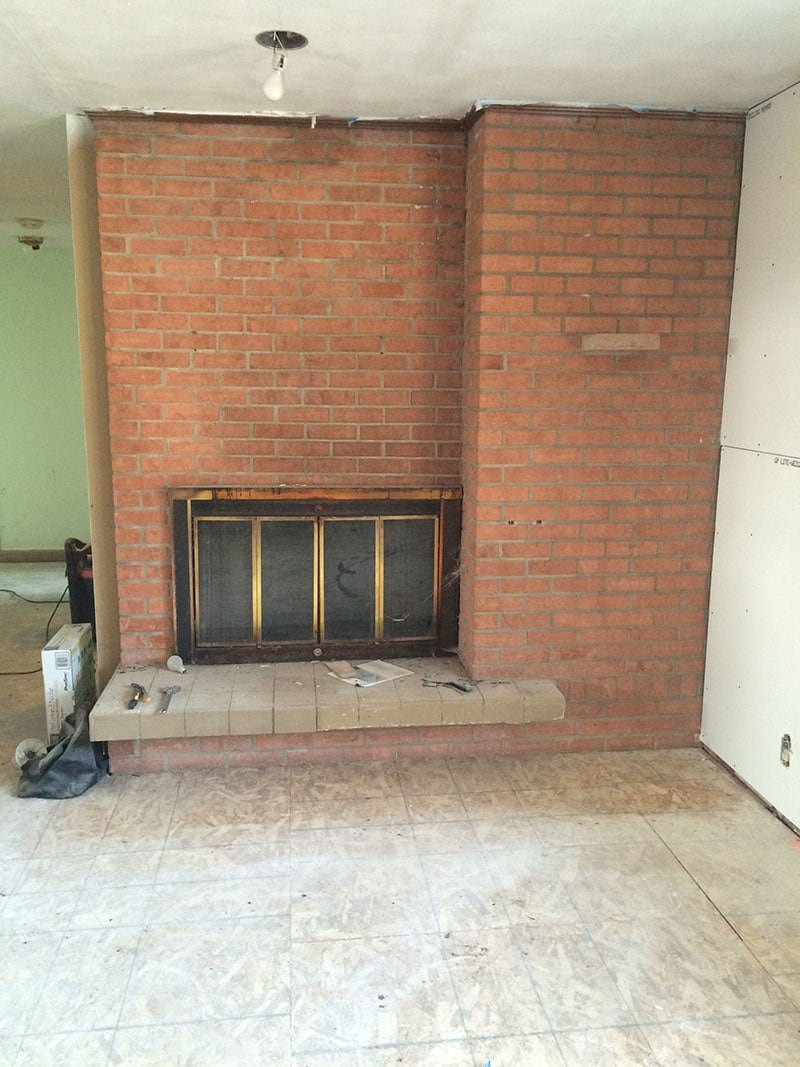 Brick Fireplace Makeover You Won T, How To Reface A Brick Fireplace With Tile