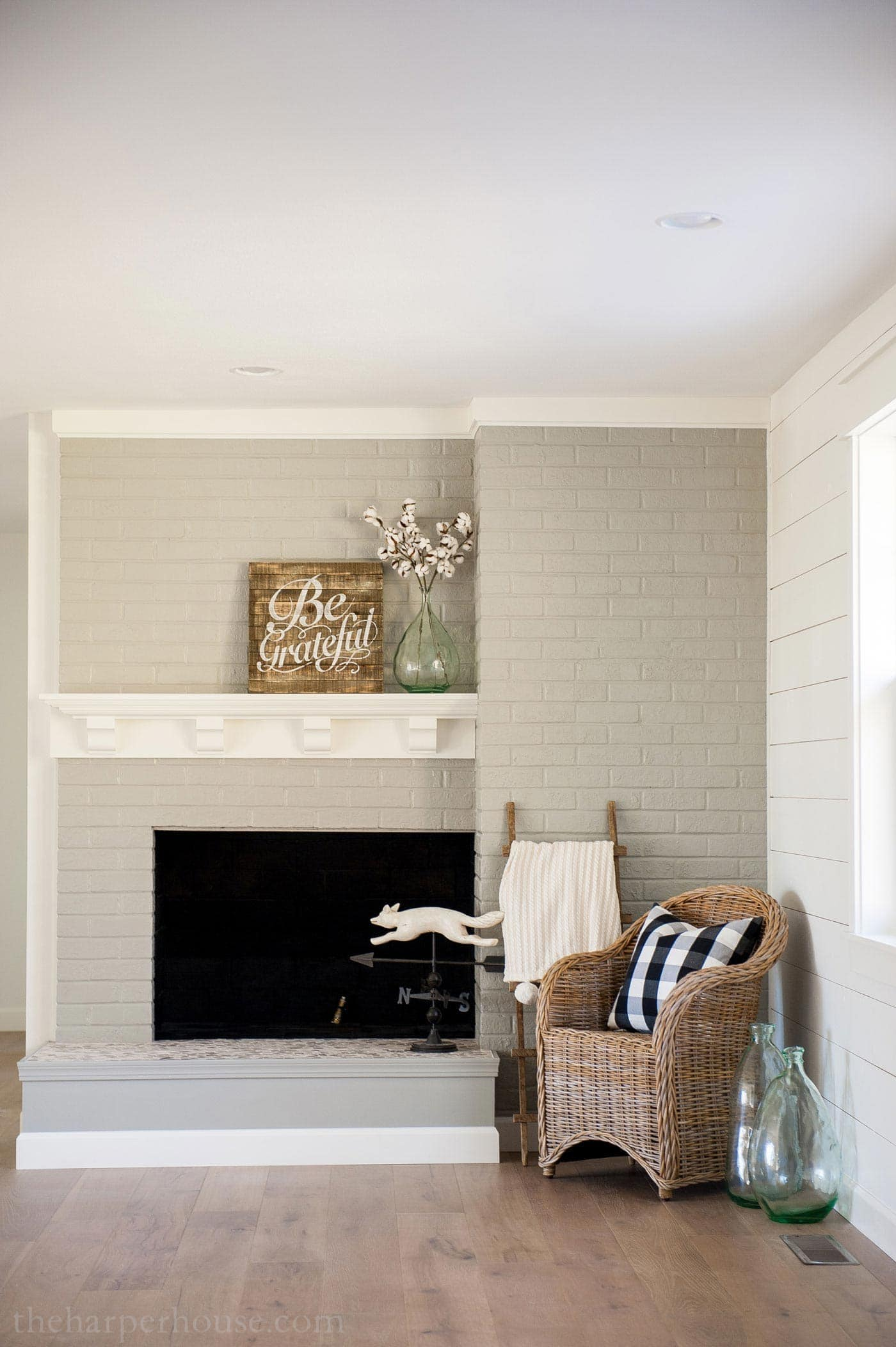 Brick Fireplace Makeover Using Gray Paint Newly Built Mantel And Tile Hearth