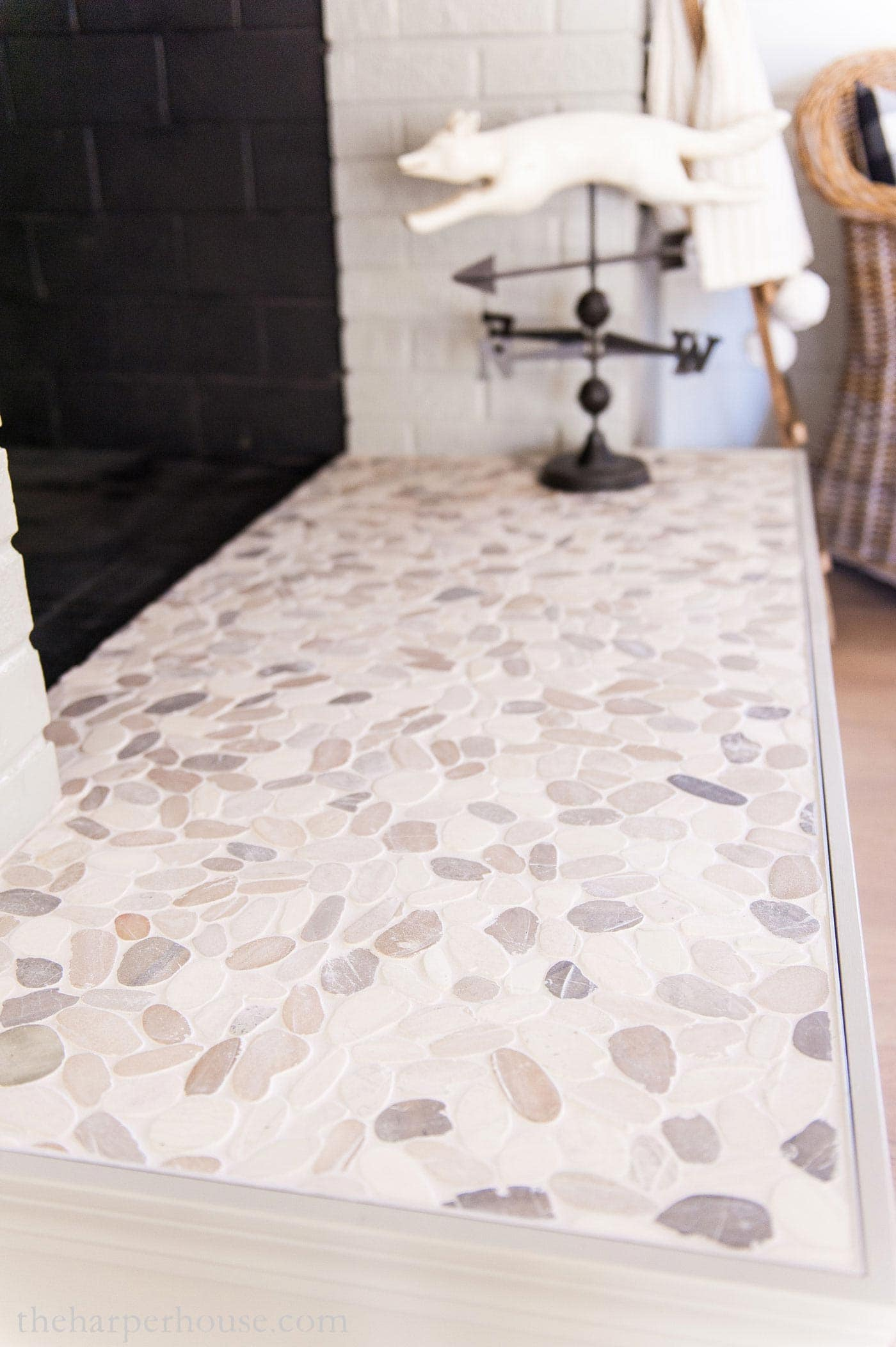 fireplace hearth tile using pebble stone mosaic tile