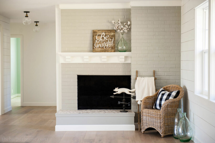 painted brick fireplace makeover reveal