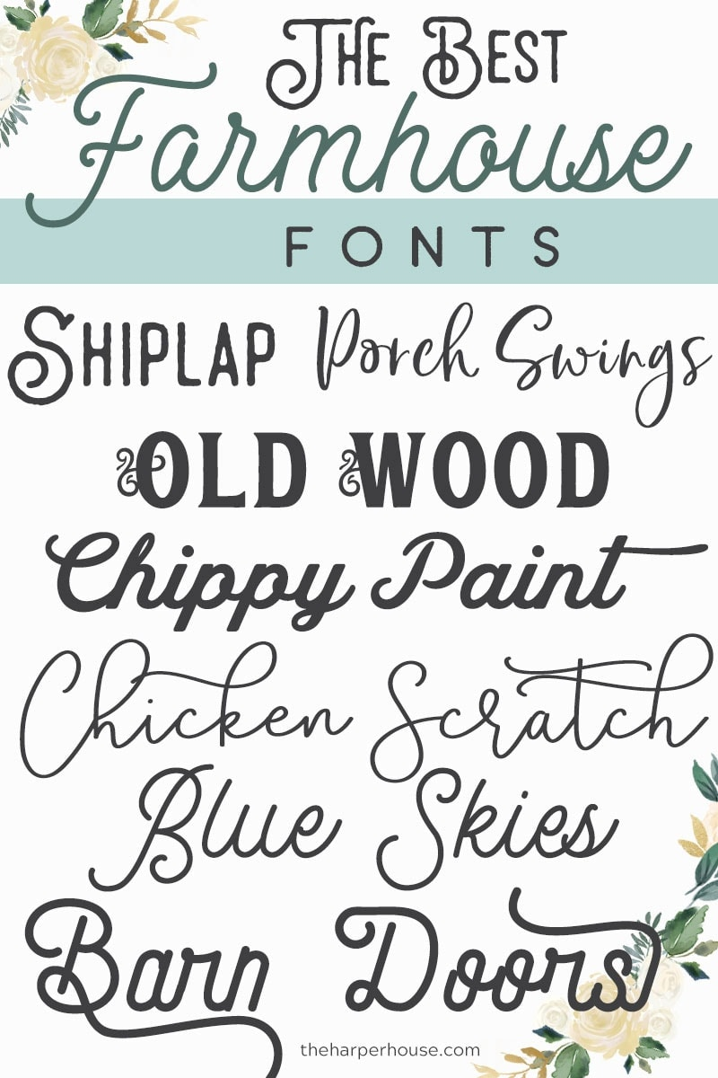 Farmhouse Fonts - best list of trendy farmhouse style fonts for 2019.