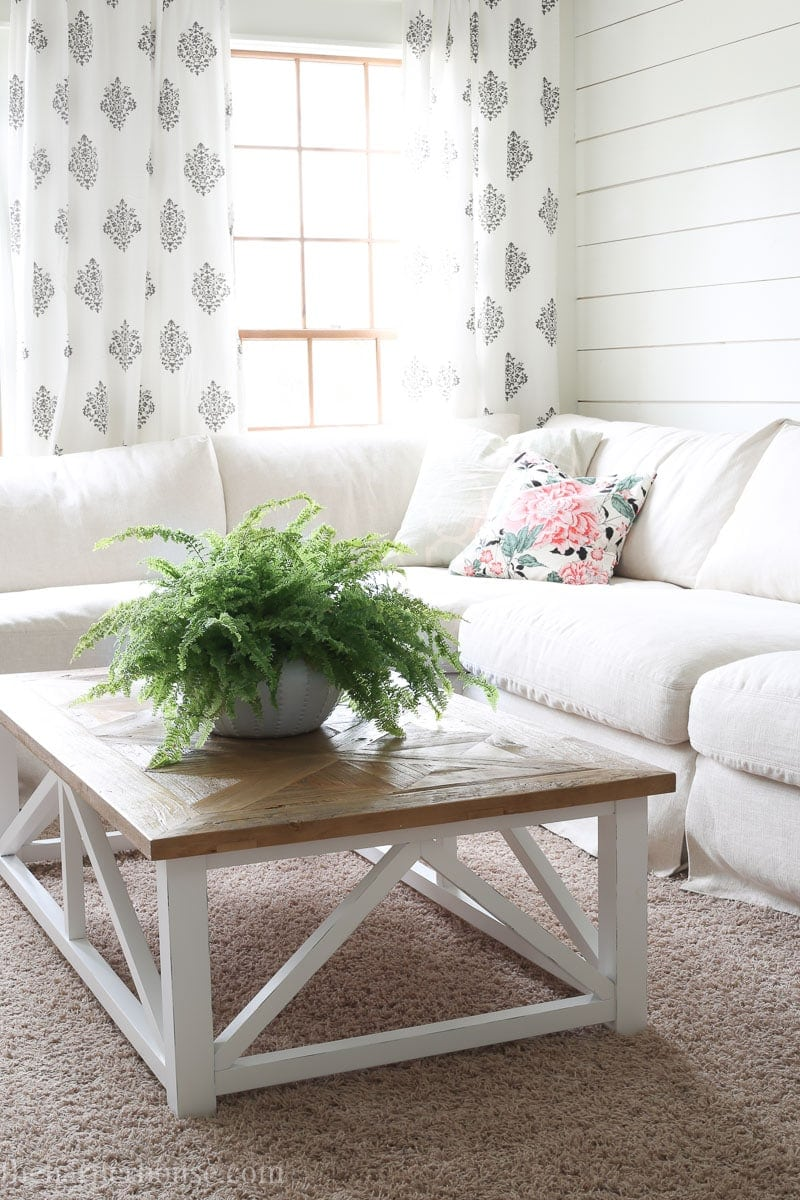 farmhouse coffee table in living room