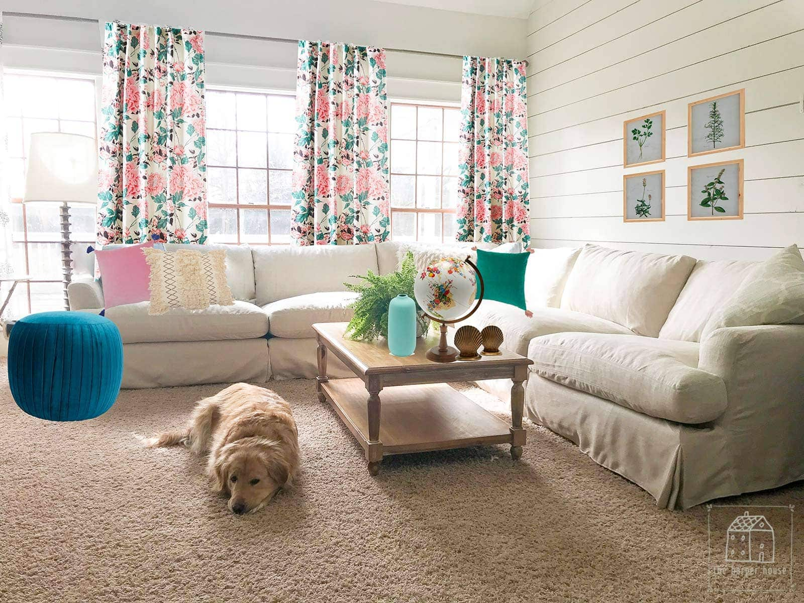 Photoshop mockup of living room using Drew Barrymore Flower Home items