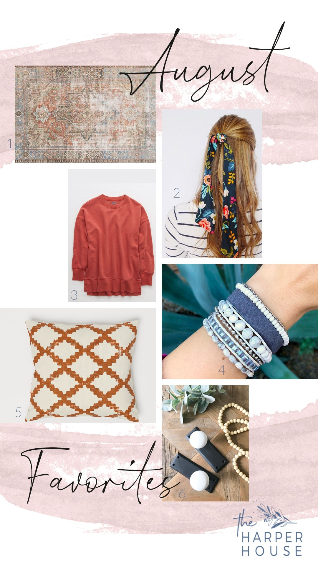 August favorites including hair scarves, boho bracelets, and fall pillows & rugs