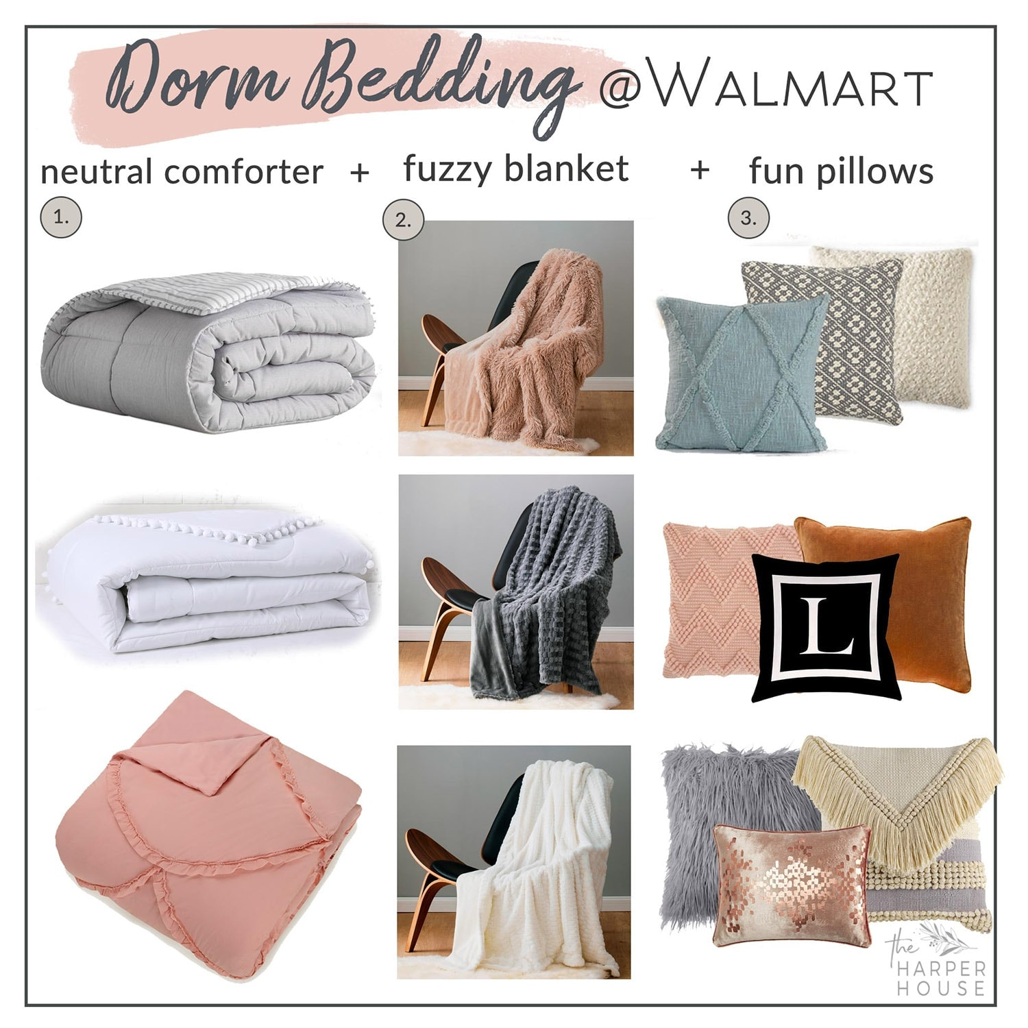 Create a boho coastal dorm room with this super affordable dorm bedding, blankets, and pillows from Walmart! #dorm #dormbedding #bohobedroom #dormroom