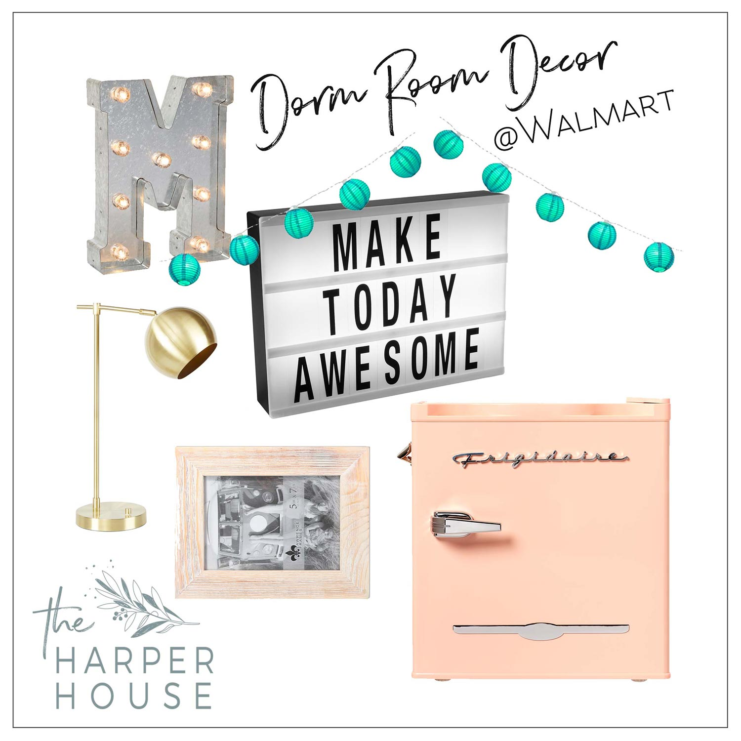 Add personality to your #dormroom with this dorm room decor from Walmart. Cute stylish and affordable dorm room accessories. #dorm #bohobedroom #boho
