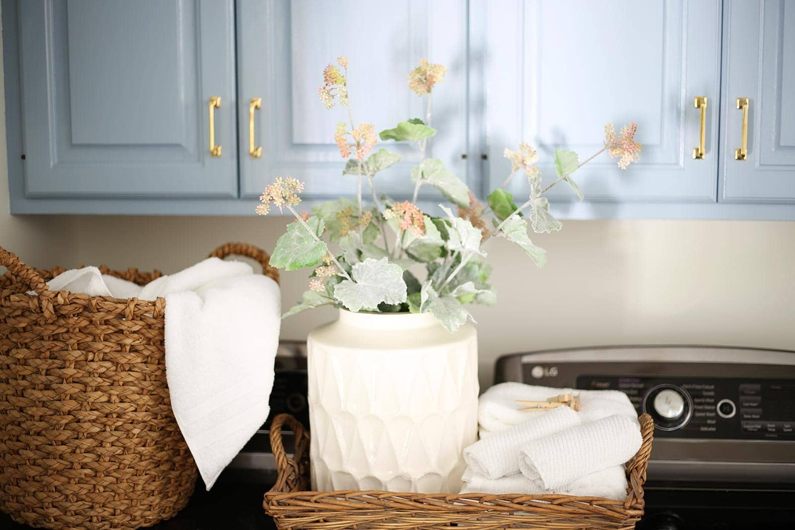 baskets and towels in laundry room