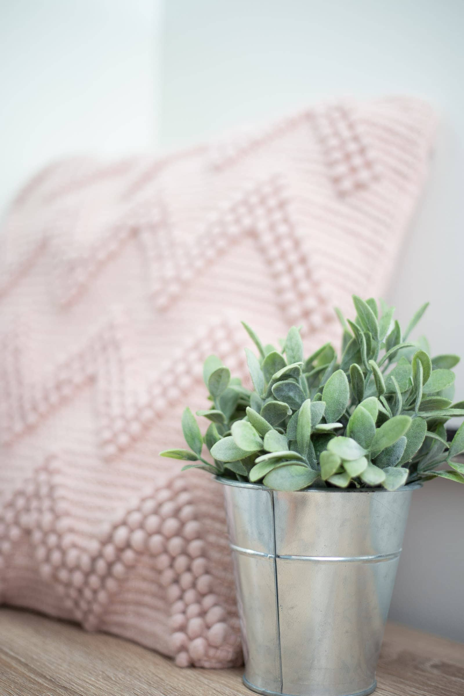 small plant and pink pillow on bench
