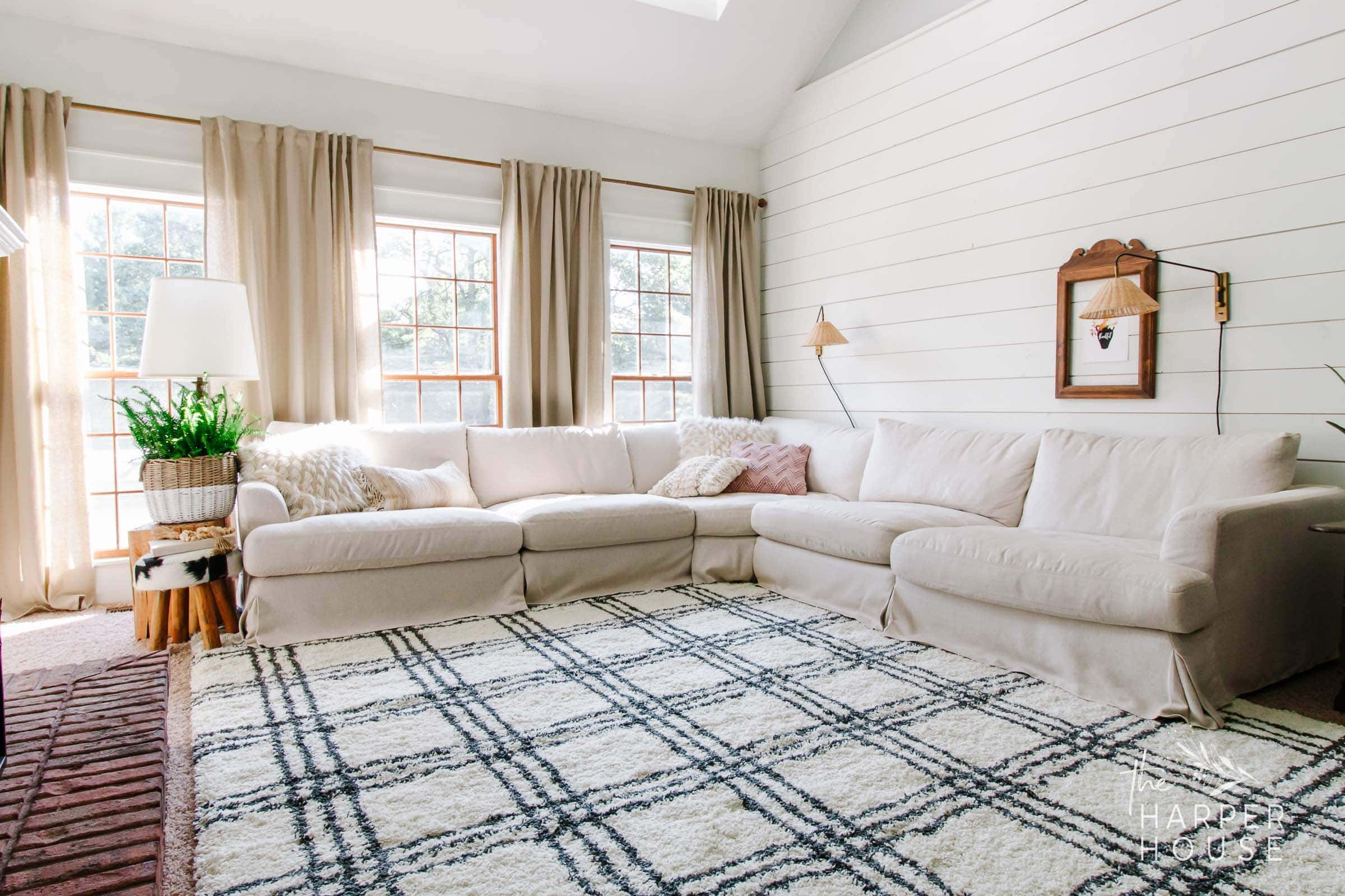 black and white rug in living room