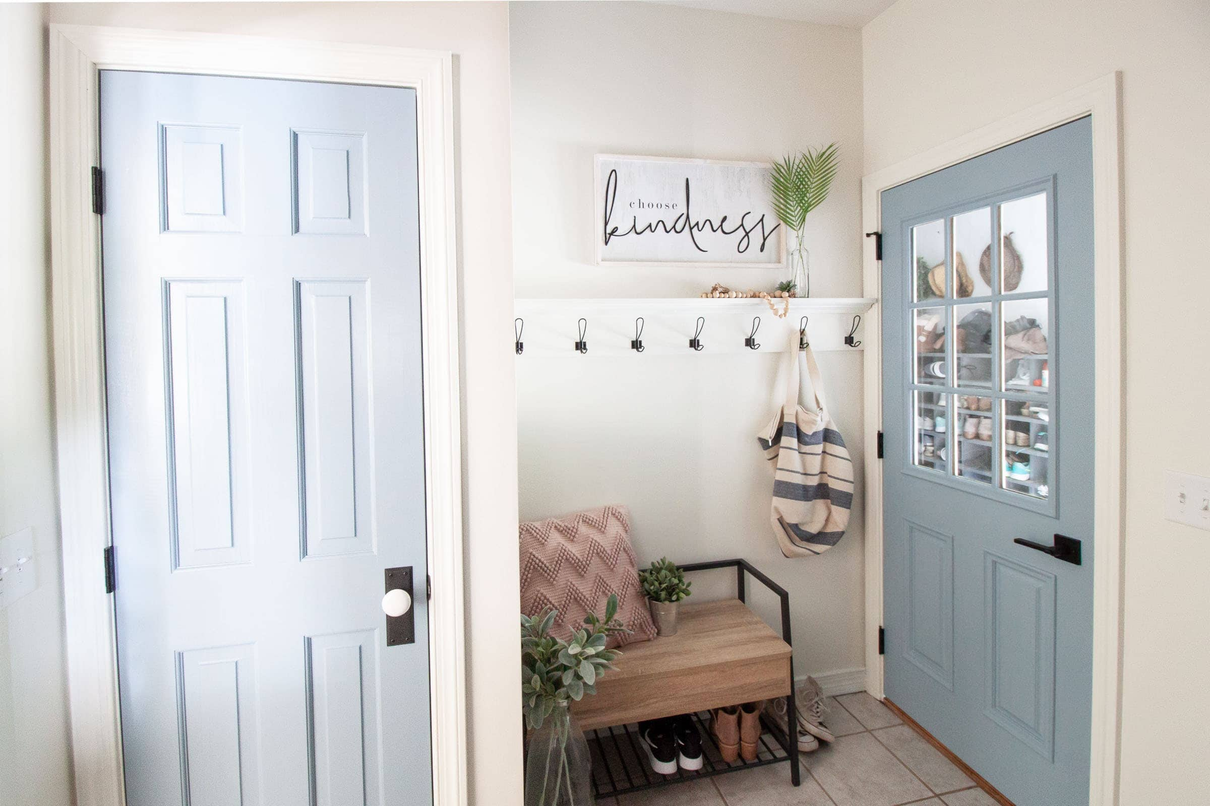 laundry room remodel with blue doors