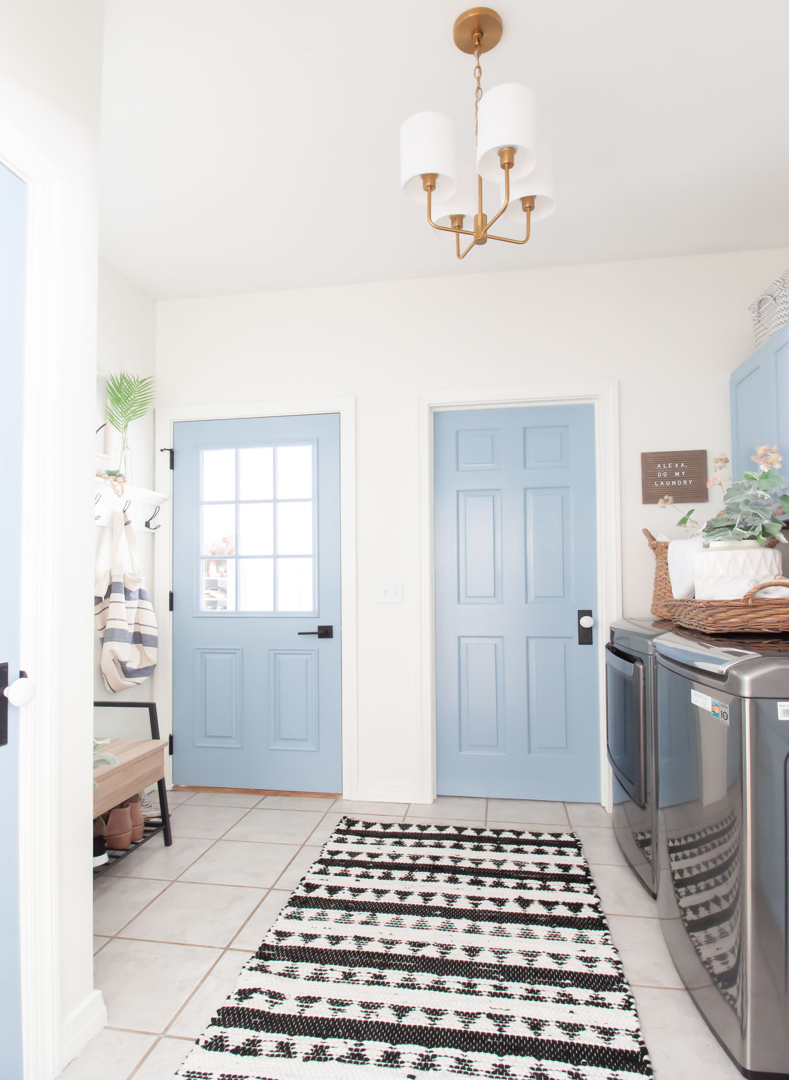 laundry room makeover with blue doors