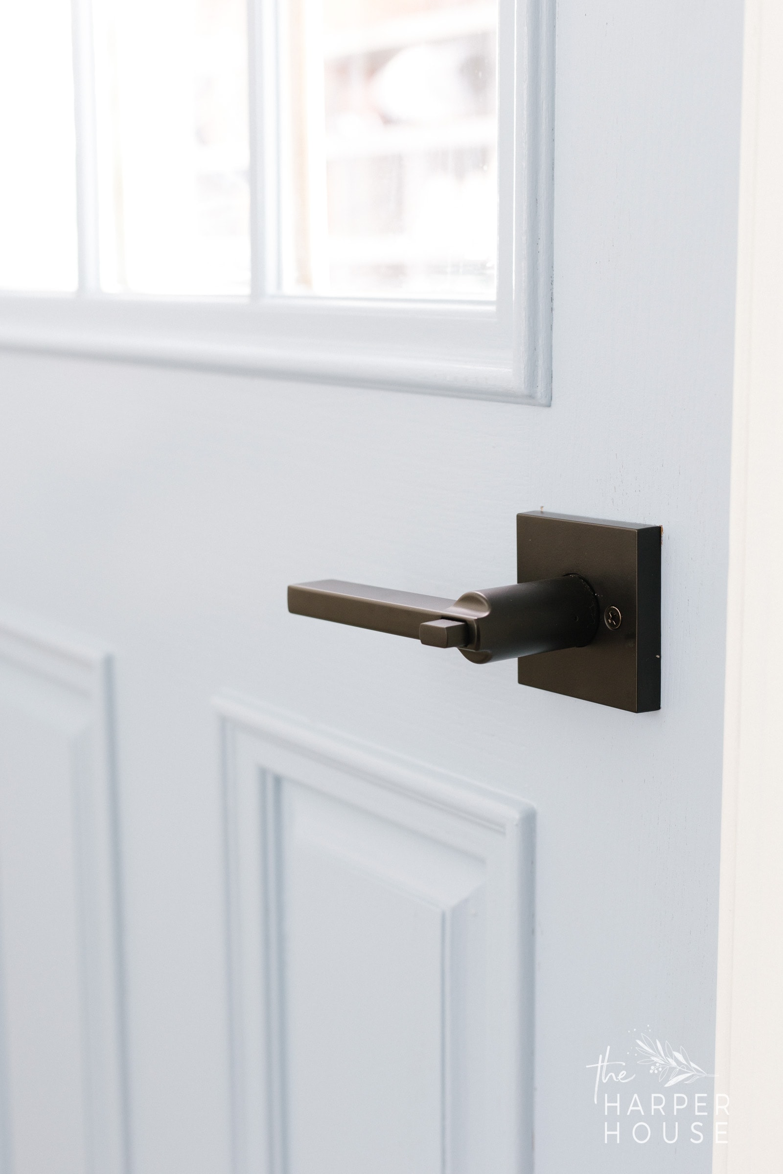matte black lever style door knob