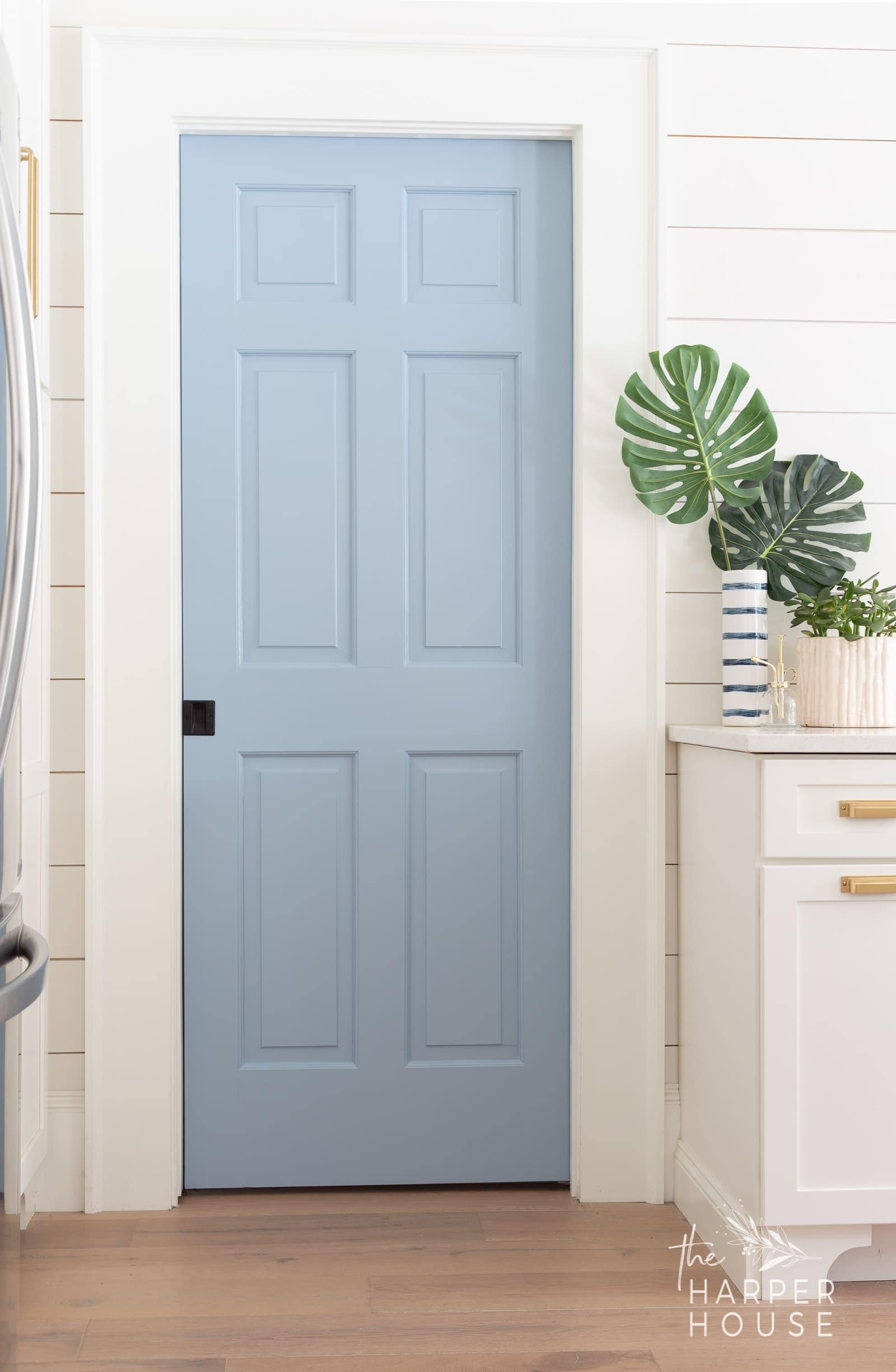 blue pantry door in modern farmhouse