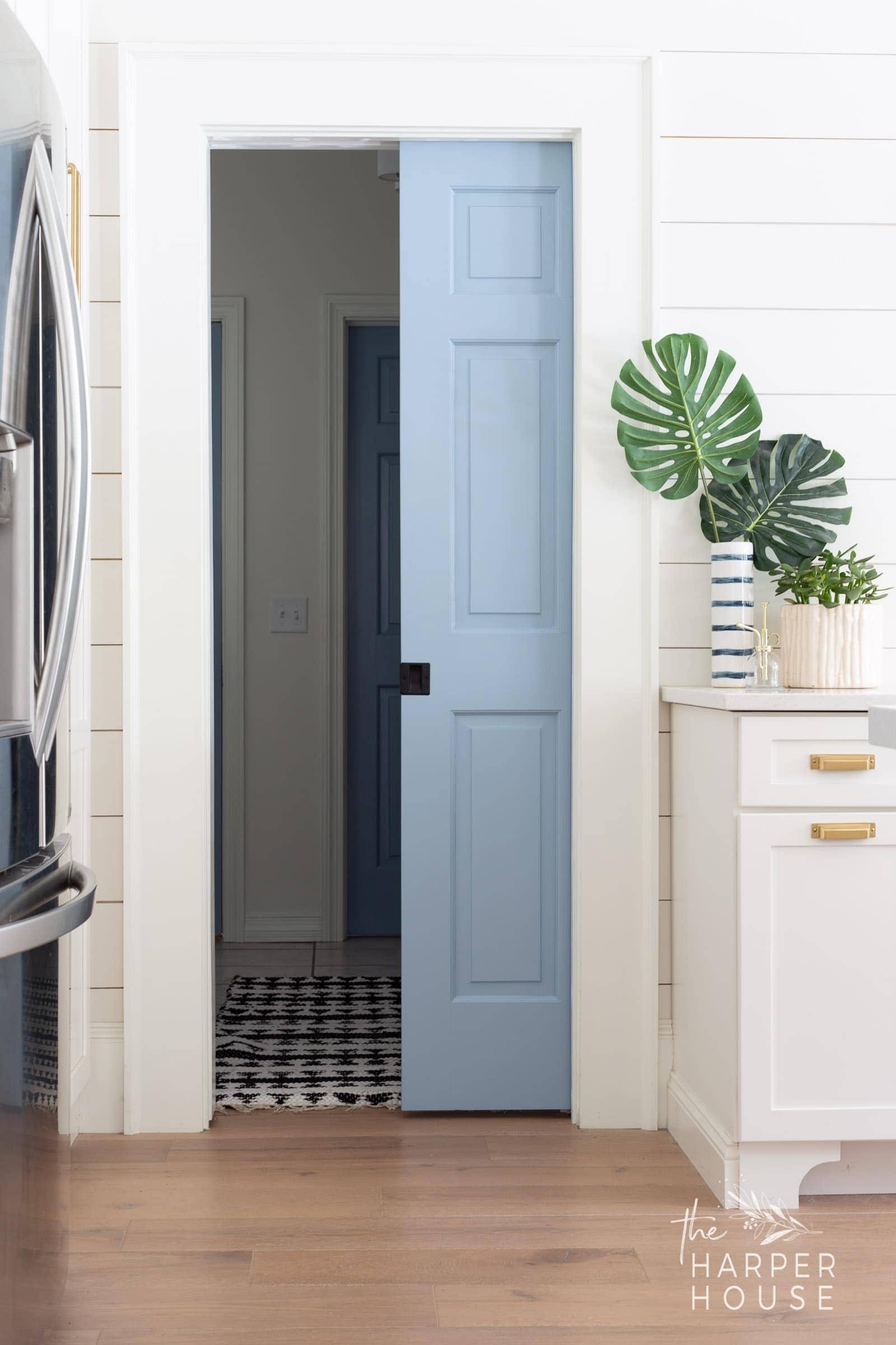 blue painted pantry door