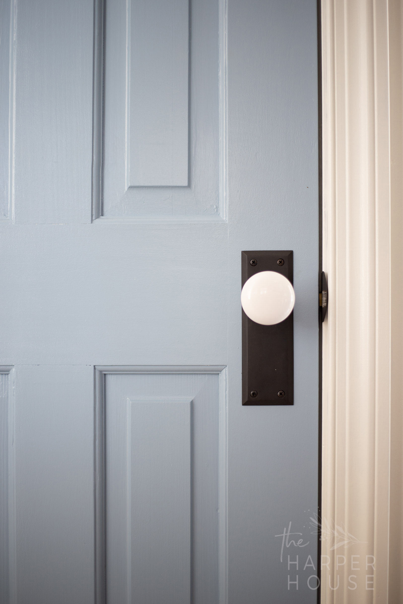 blue interior doors with white door knobs