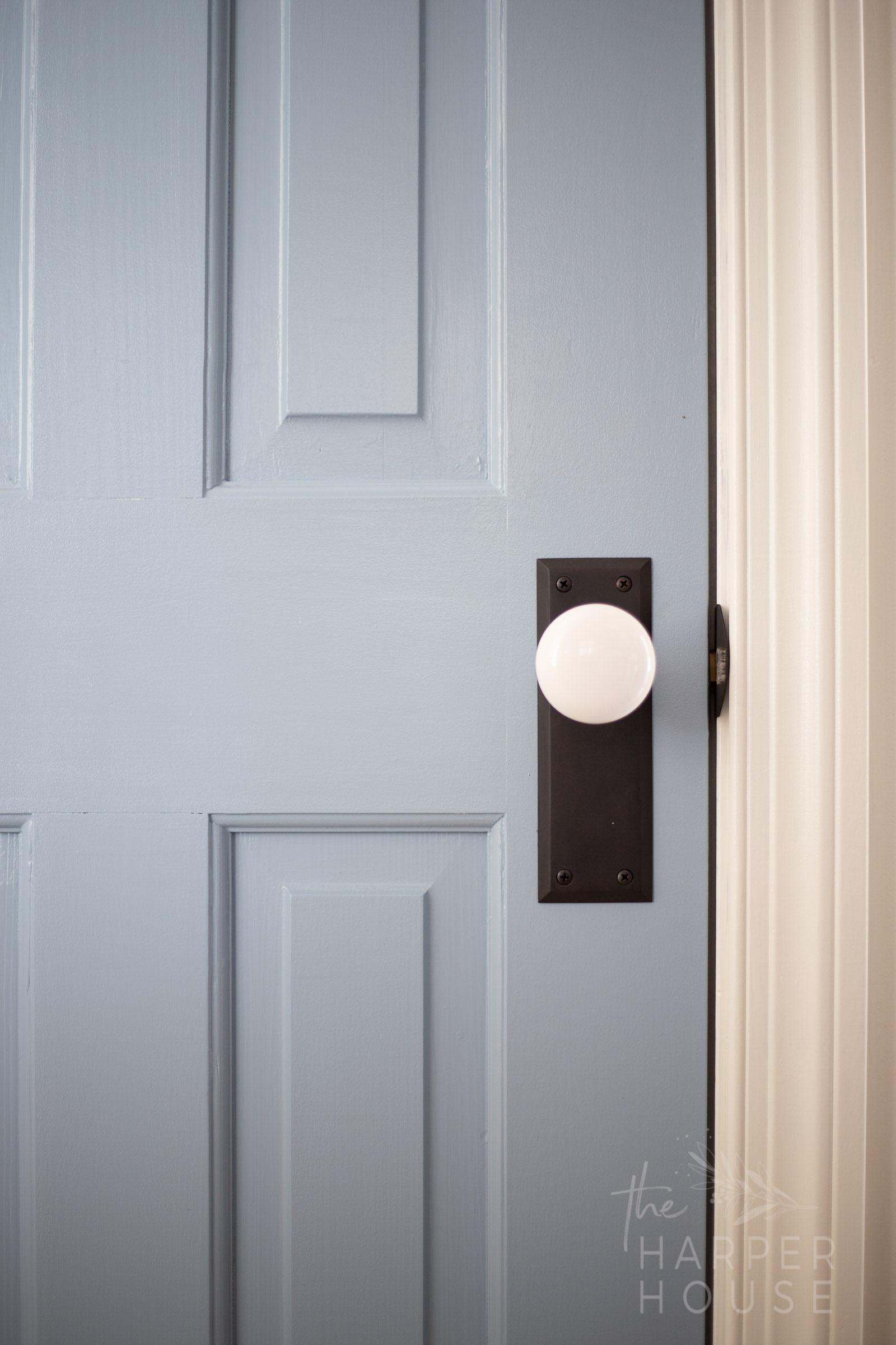 blue interior doors with white door knobs