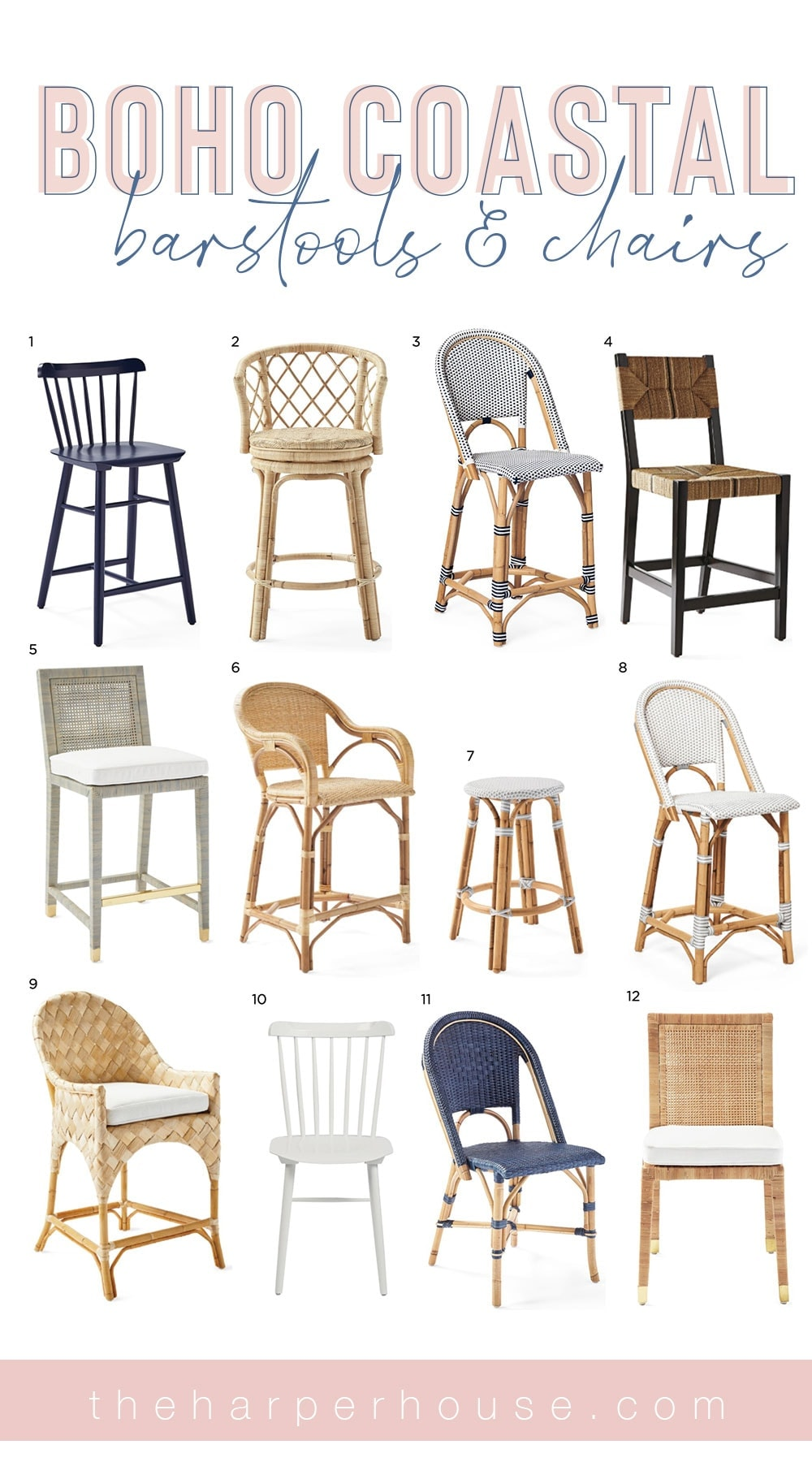 boho coastal dining chairs and barstools