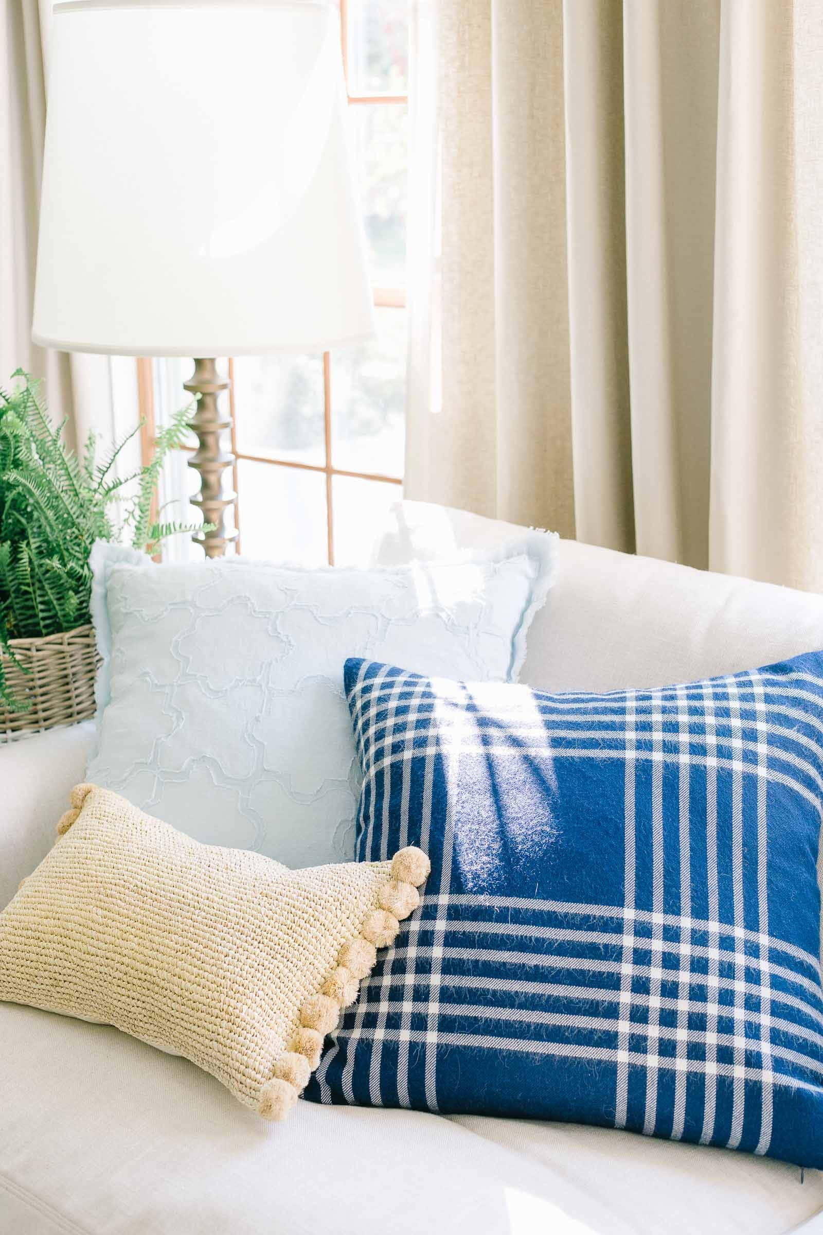 pillows on slipcovered sectional sofa