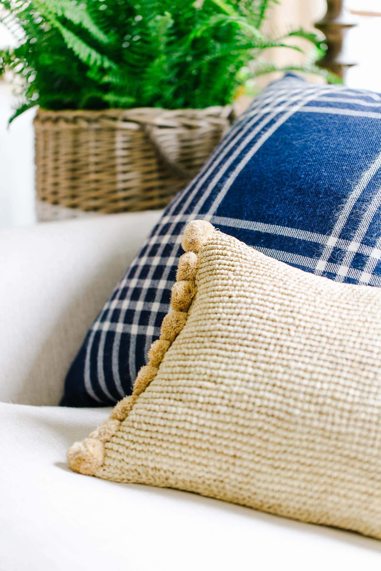navy blue plaid pillow