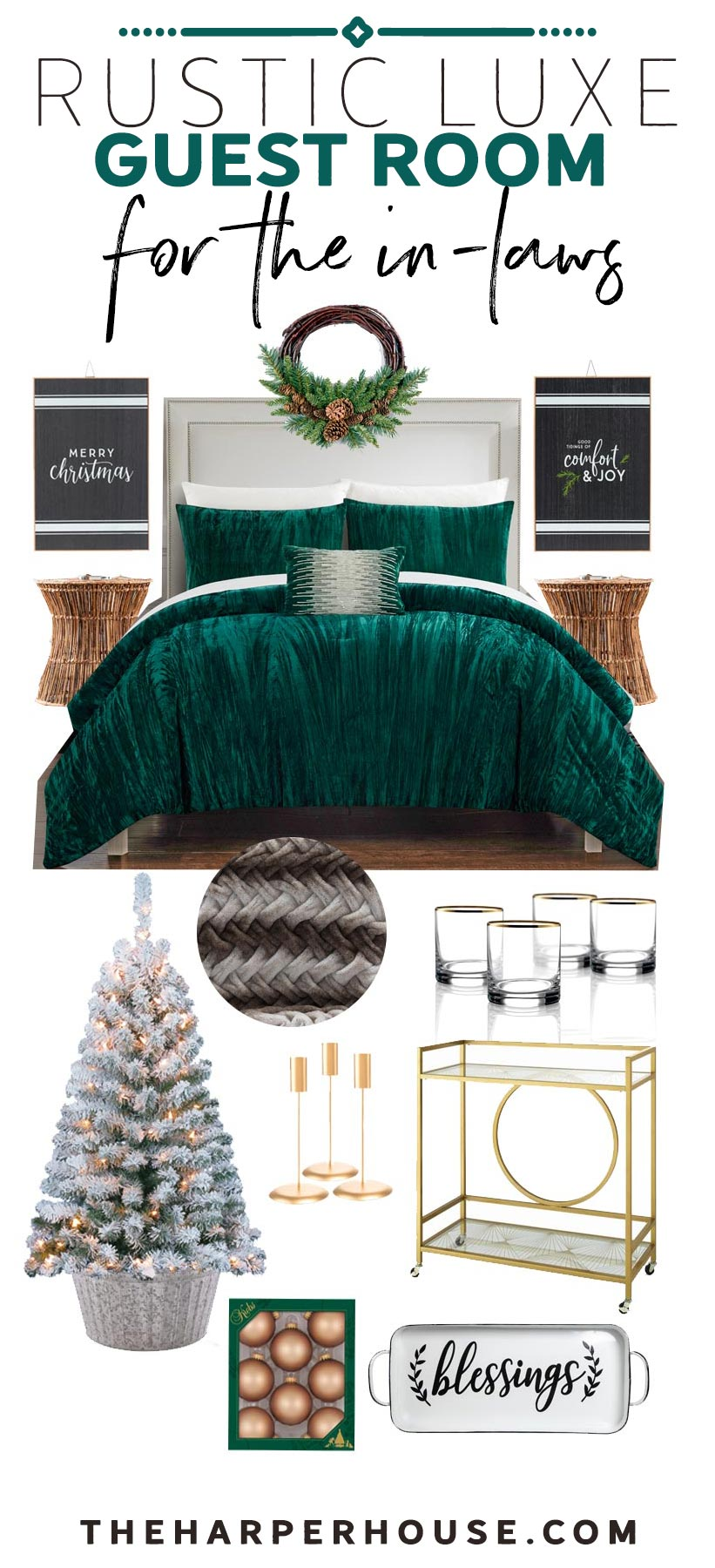Emerald green and black guest room holiday decor from Walmart