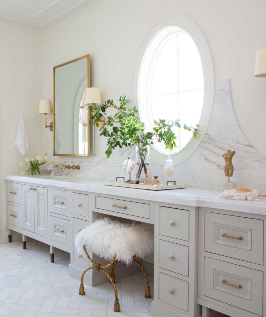 Repose Gray bathroom vanity, light gray bathroom cabinets