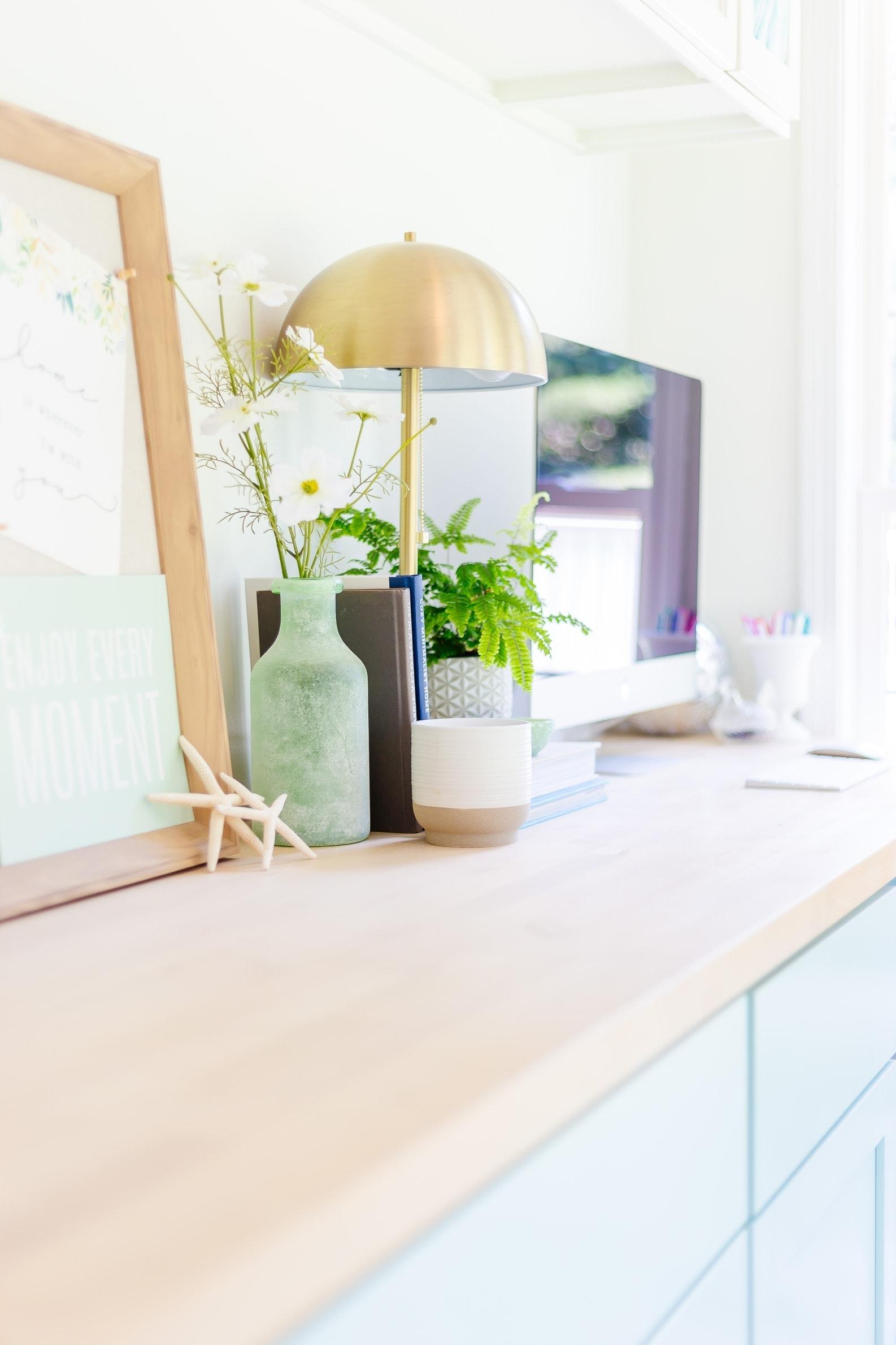 matte brass lamp with diy butcher block desk, coastal style decorating, home office ideas