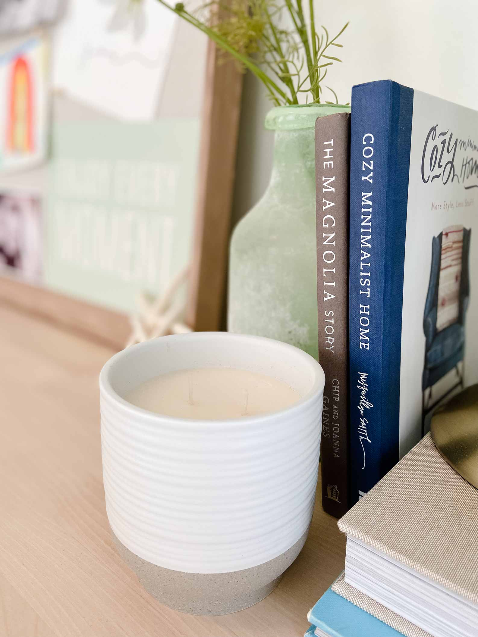 white candle and diy butcher block desk