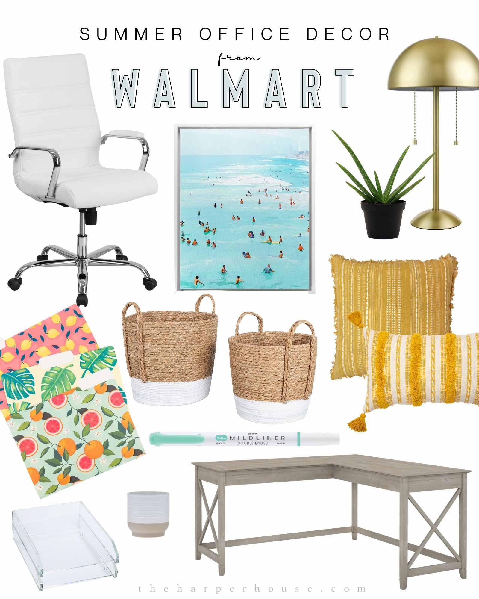 summer office decor from walmart
