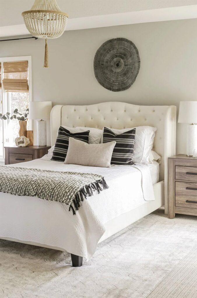 Repose Gray bedroom via Designing Vibes