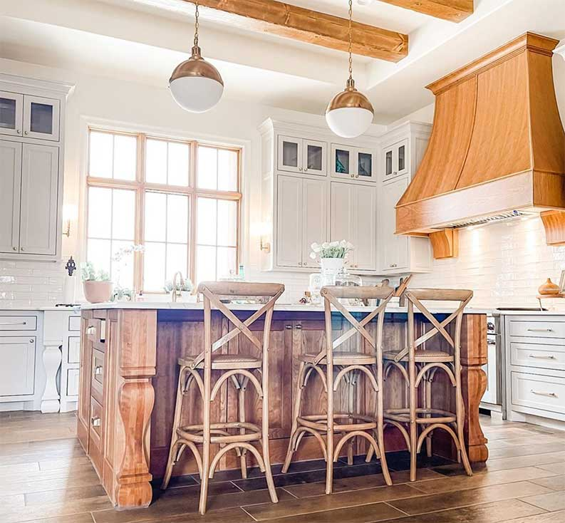 traditional kitchen with gray cabinets