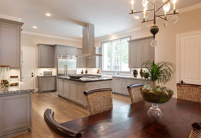 gray kitchen cabinets with Repose Gray Sherwin Williams trim