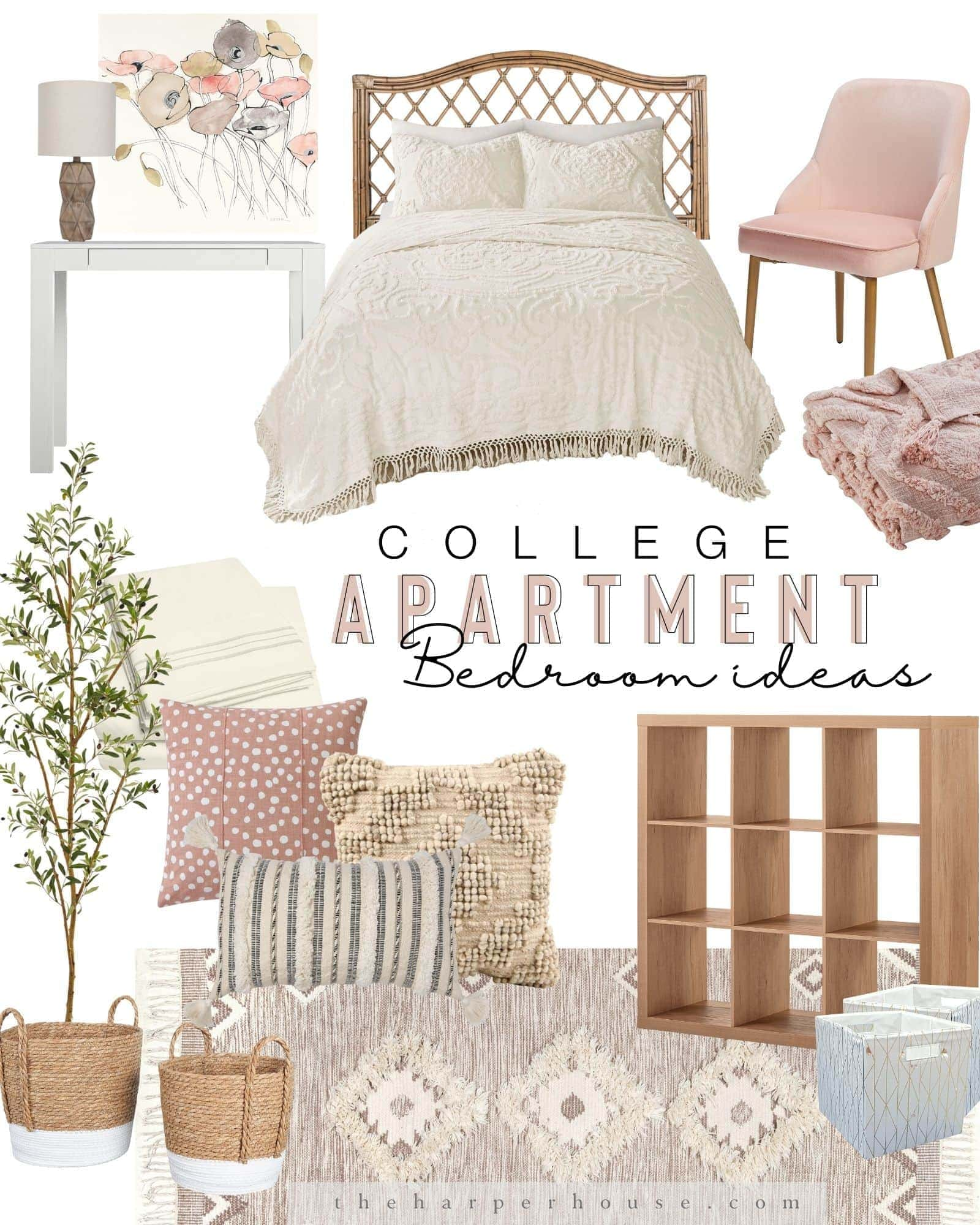 Boho bedroom decor for your college dorm or apartment. Cheap and easy decorating ideas for small bedrooms featuring rattan / wicker headboard, chenille bedding , small desk and textured moroccan area rug and faux olive tree