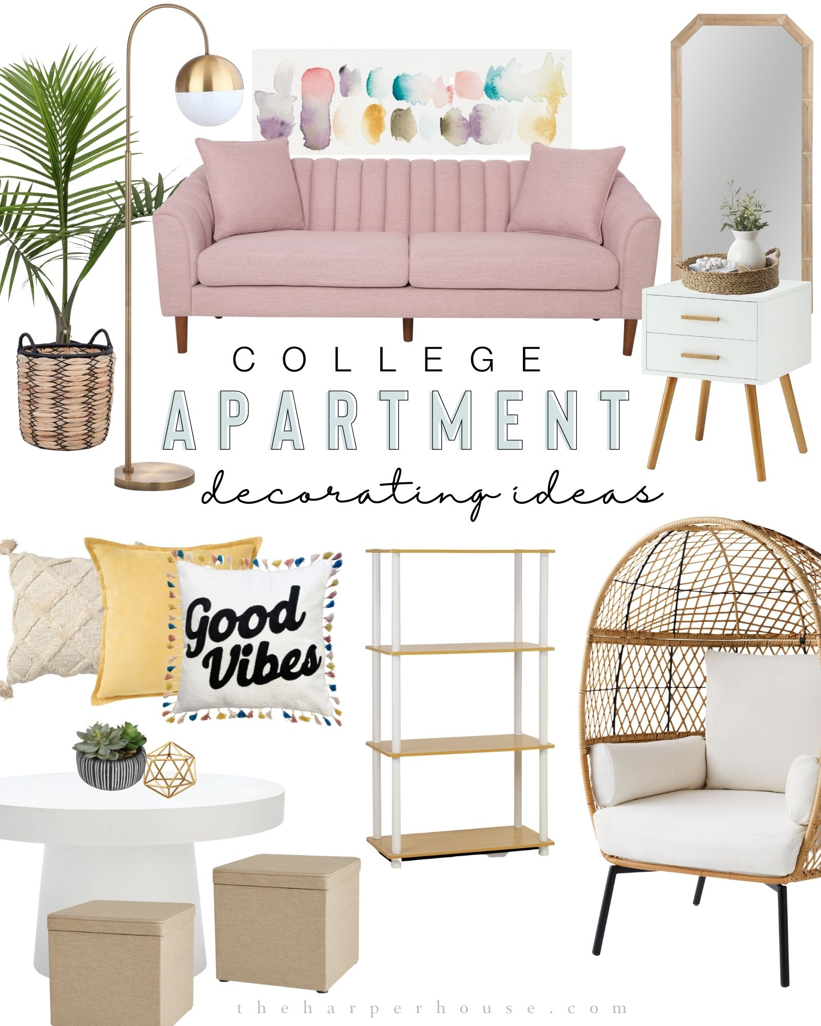 College apartment decorating ideas with boho decor featuring a blush pink sofa, egg chair, round coffee table and storage ottomans