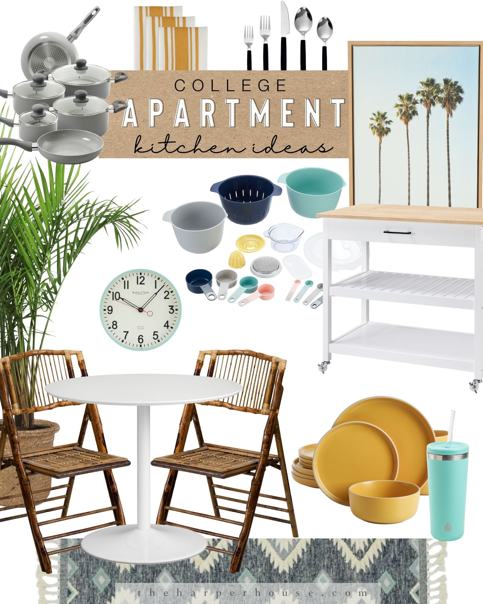 College essentials for your kitchen apartment featuring a small dining table, kitchen runner, cheap dishes, pots and pans, and rolling cart / bar cart