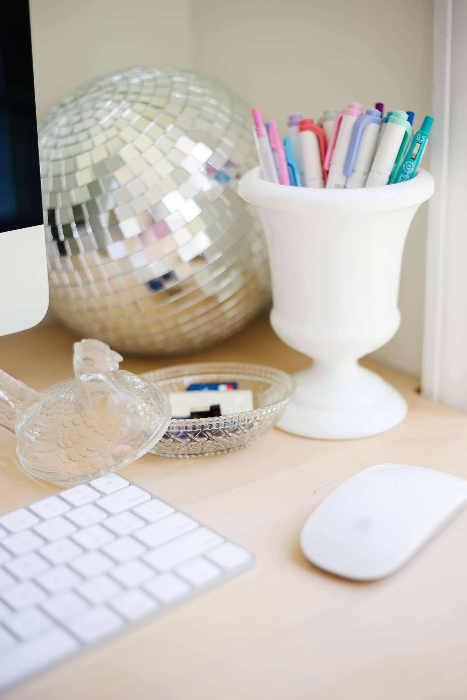 how to use vintage items for cute office storage ideas