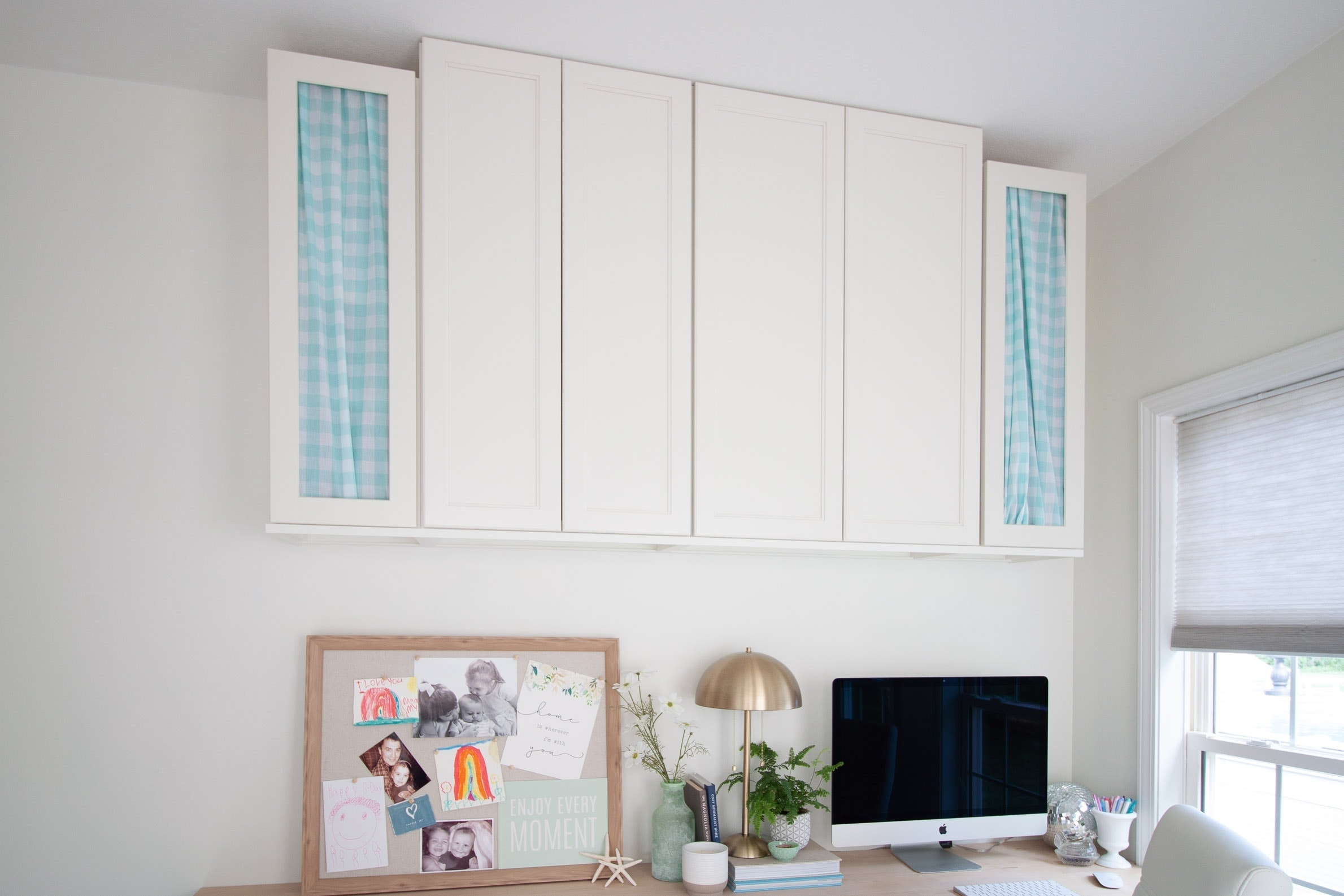hidden office storage using fabric to hide clutter