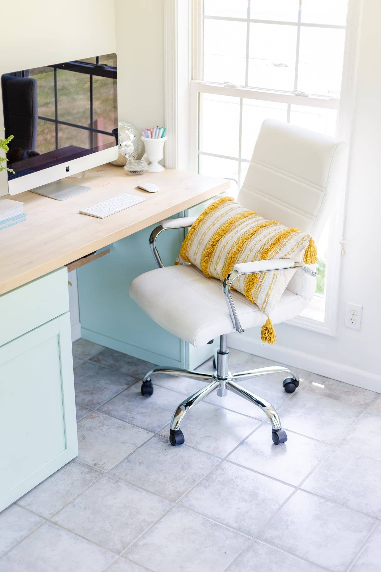boho office makeover featuring office decorating ideas and coastal decor. White desk chair