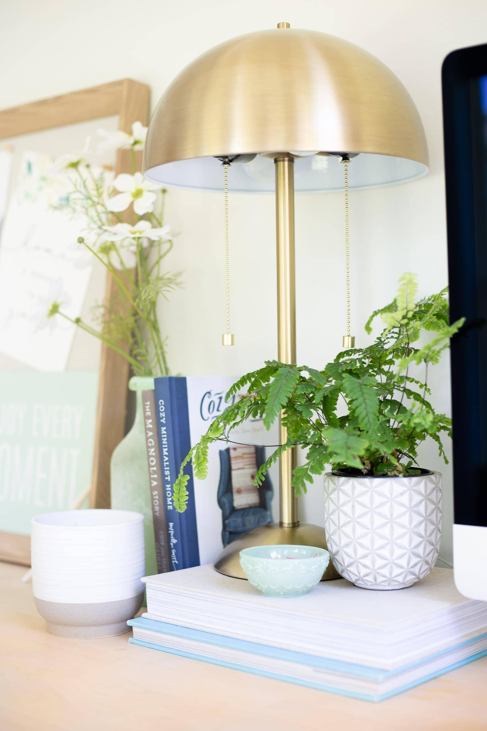 matte brass table lamp for desk with coastal office decor