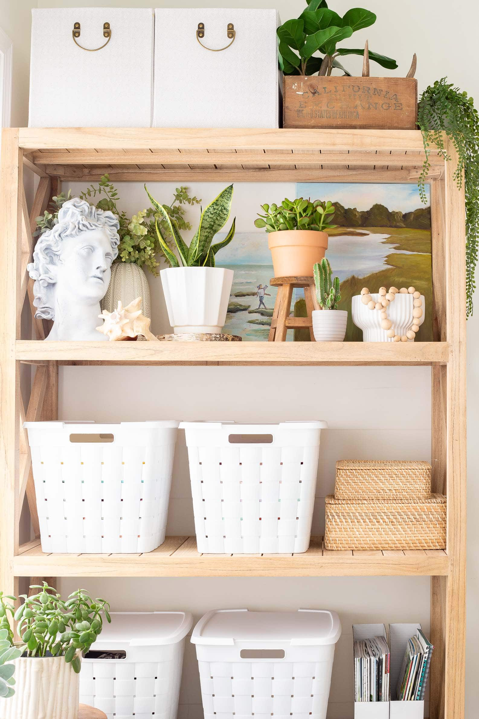 boho home office storage and decorating ideas using natural light wood shelves, bins and baskets