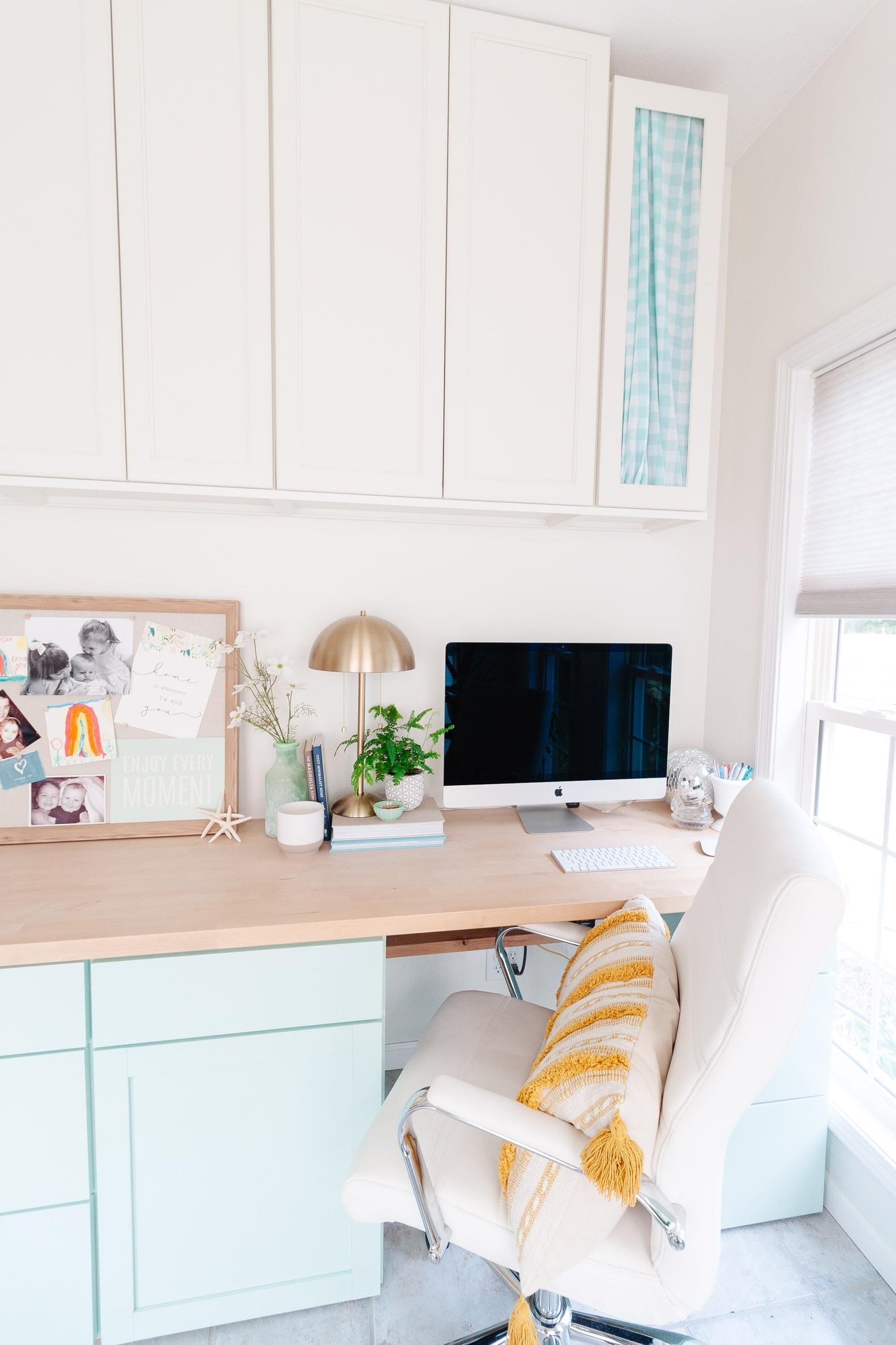 coastal office decor featuring pale aqua blue diy cabinets and diy butcher block desktop