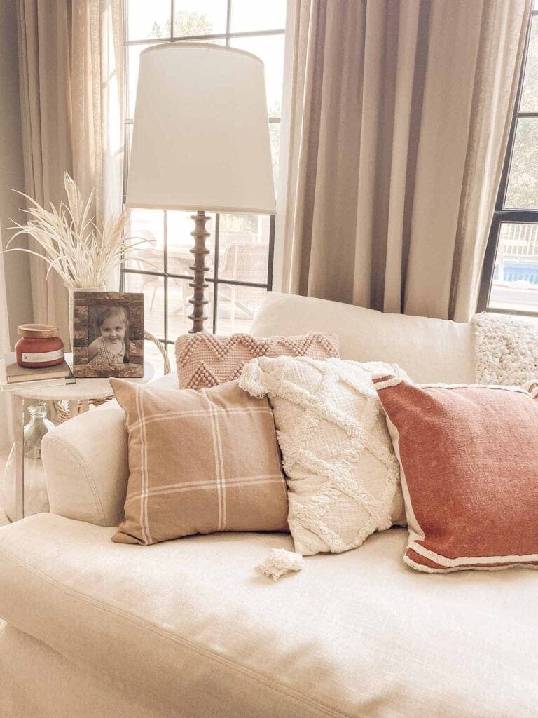 walmart fall pillows in ivory, beige, and rust
